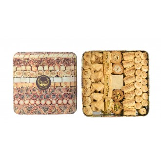 Assorted Baklawa Baklava |Tin Metal Box |1kg | Chateau de Mediterranean