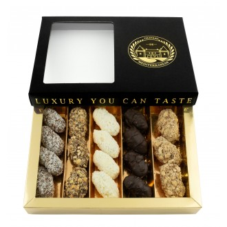 Medjoul Dates Covered In Belgian Chocolate |Super Deluxe Gift Box  | Approx 18 Pieces | Chateau de Mediterranean