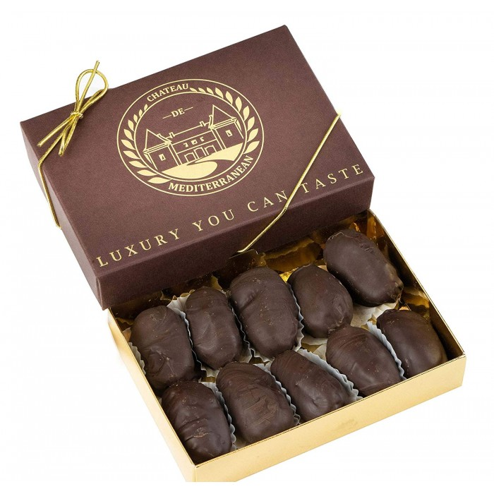 Medjoul, Medjool Dates Coated with Dark Belgian Chocolate, 10 Pieces Chateau de Mediterranean Gift Box Range