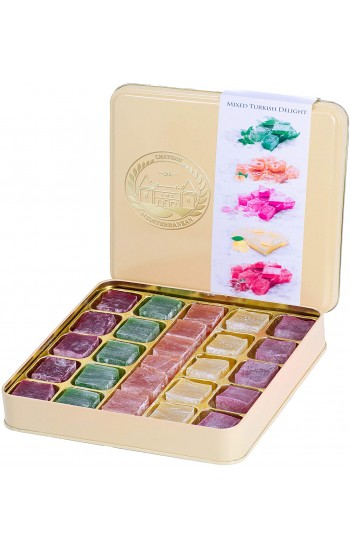 Assorted Turkish Delight Mix, Rose, Mint, Orange, Lemon and Pomegranate Flavour, Lokum Dessert Gourmet Gift Box Tin, 500g, Approx 26 Pieces, Chateau De Mediterranean
