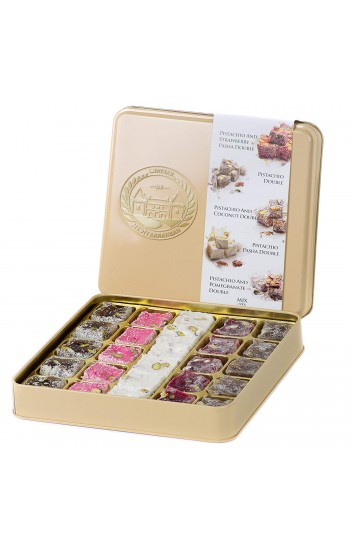 Double Roasted Pistachio Turkish Delight, Luxurious Selection of Strawberry, Pomegranate, Coconut and Pasha, 26 Pieces, 500g, 18oz, Tin Metal Gift Box