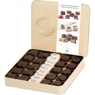 Luxury Assorted Chocolate Turkish Delight Selection in a Gift Tin Box, Lokum Dessert Gourmet 500g, Approx 29, Chateau De Mediterranean