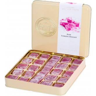 Rose Turkish Delight Flavour Lokum, Dessert Gourmet Gift Box Tin, 500g, Approx 26 pieces, Chateau De Mediterranean