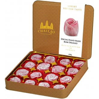 Rose Turkish Delight Lokum, Hand Crafted Shaped Flower, Dessert Gourmet Gift Box Tin, 16 Pieces, 300g, Chateau de Mediterranean