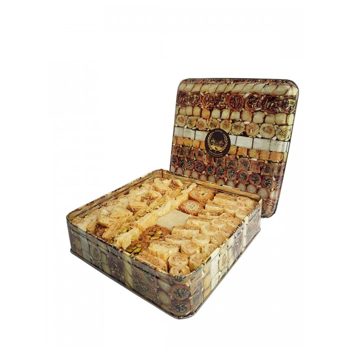 Assorted Baklava Baklawa Freshly Baked 1 KG  by Chateaudemed in a TIN BOX