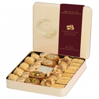 Assorted Baklawa Baklava |Tin Metal Box | 700g | Approx 29 Pieces| Chateau de Mediterranean