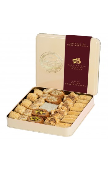 Assorted Baklawa Baklava  Tin Metal Box   700g   Approx 29 Pieces  Chateau de Mediterranean