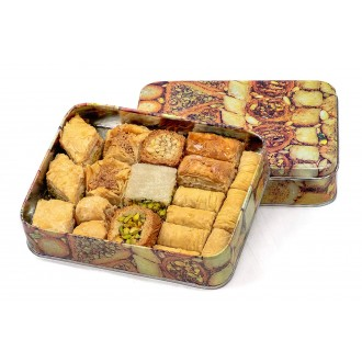 Baklava Baklawa Tin Box, Prime, 500gram, Assorted Baklawa Mixture Including Pistachio Cashew Almonds Walnut Varieties
