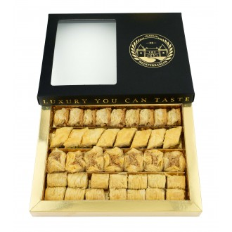 Baklava Gift Box Baklawa | 500g Approx 40 Pieces Freshly Baked | Variety Includes Pistachio, Colschur, Fingers Boukaj | Shipped Next Day | UK