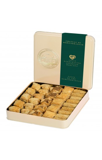 Vegan Baklawa Baklava Assorted mixture, 700g, 30 pieces, Tin box | Chateau de Mediterranean